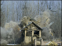 The site of the clash between Indian security forces and a military group in Kashmir,  30 January 2008