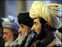 Afghan MPs listen to a speech by a US envoy (30 January 2008)