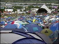 Tents in front of the Pyramid Stage at Glastonbury 2007