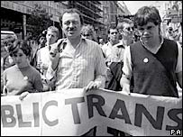 Ken Livingstone leading a protest in 1982