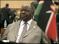 Kenyan president Mwai Kibaki at AU summit 31/1/08