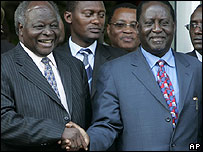 President Mwai Kibaki (L) and opposition leader Raila Odinga (R)