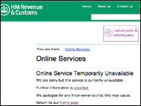 Message on HMRC website