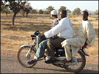 A bike on the road from Bawku to Bolgatanga