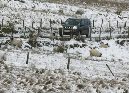 Snow covers the ground in Co Antrim