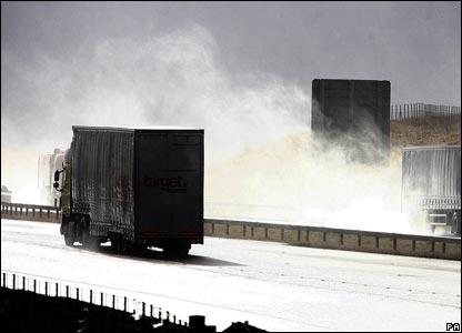 Lorries near Tebay, Cumbria