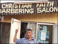David outside the Christian Faith Barbering Salon