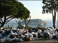 Rubbish piling up in Pozzuoli, west of Naples