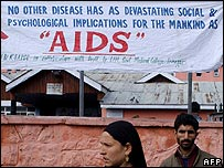 Aids awareness poster in Indian-administered Kashmir