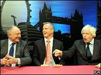 Ken Livingstone, Brian Paddick and Boris Johnson