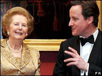 Baroness Thatcher and David Cameron