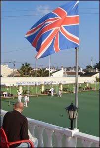A union jack flag at a bowling green
