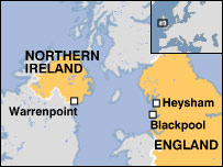 Map of Northern Ireland and England