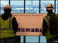 Workers at the testing of Terminal 5