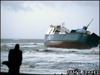 Grounded ferry on beach near Blackpool