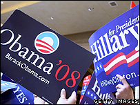 Obama and Hilary placards
