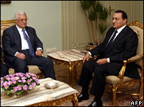 Mahmoud Abbas and Hosni Mubarak in Cairo (30/1/08)