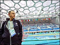 French coach Claude Fauquet at the test event at the National Aquatic Centre in Beijing