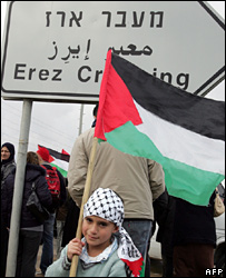 Child waves Palestinian flag on Israeli side of Erez Crossing (26/02/08)