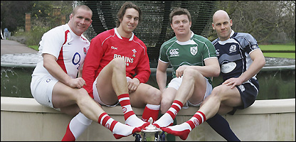Phil Vickery (England), Ryan Jones (Wales), Brian O¿Driscoll (Ireland) and Simon Webster (Scotland) pulled on their distinctive red and white Sport Relief socks