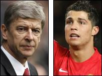 Arsenal manager Arsene Wenger and Man Utd winger Cristiano Ronaldo