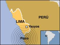 Mapa de la zona más afectada por el terremoto