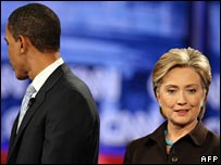 Barack Obama and Hillary Clinton at a debate