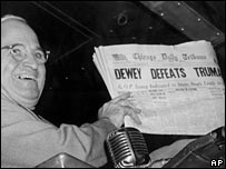 The Chicago Daily Tribune called the 1948 election wrongly, with headline Dewey Defeats Truman