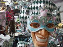 Mask as part of preparations for Rio carnival