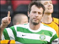 Maciej Zurawski celebrates scoring for Celtic's reserves