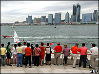 Spectators watching a sailing event at Qingdao