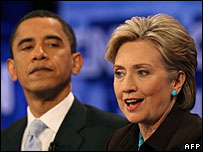Barack Obama and Hillary Clinton at the Democratic debate, 31 Jan 2008