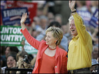 Hillary and Bill Clinton campaign at the Iowa State Fair, July 2007