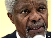 Former UN chief Kofi Annan at press conference in Nairobi on 1 February 2008