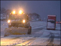 Snow plough and lorry on the A66