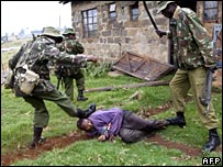 Kalenjin man is discovered hiding in a house with poisoned arrows near the western Kenyan town of Kericho on 1 February 2008