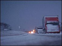 Lorries snowbound on the A66