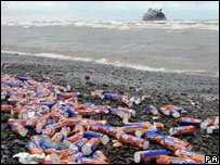 Packets of McVitie's biscuits on the shore