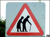 Road sign warning of elderly people