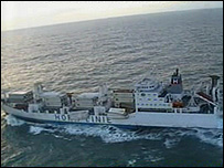 The Horncliff heading for Falmouth: pictures courtesy of Royal Navy