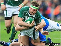 Ronan O'Gara of Ireland in action against Italy