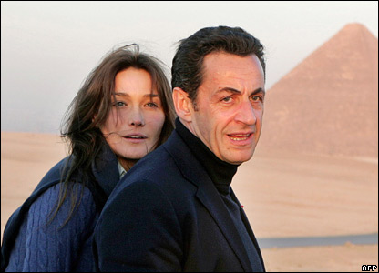 Nicolas Sarkozy and Carla Bruni at the Great Pyramids of Giza, on the outskirts of Cairo. December 2007