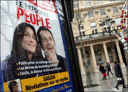 The cover of L'Express news magazine showing French President Nicolas Sarkozy and Carla Bruni 11.01.08