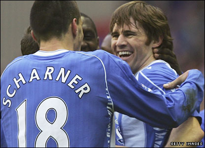 Kevin Kilbane (right) after scoring