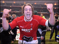 Wales captain Ryan Jones celebrates a historic victory over England
