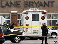 Ambulance and police outside Lane Bryant store 2/2/08