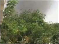 Smoke over N'Djamena (photo courtesy of Stop Genocide Now website)