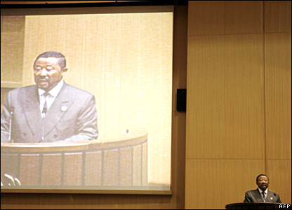 Gabon foreign minister at AU summit in Ethiopia on 2 February 2008