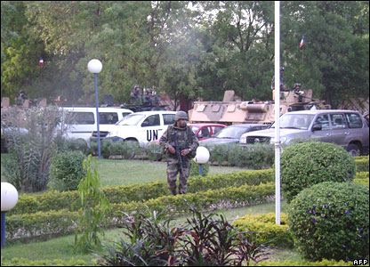 French soldier secures Novotel Hotel in N'Djamena on 2 February 2008