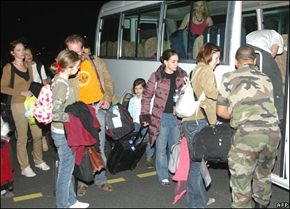 Foreign nationals evacuated from N'Djamena by French military on 3 February 2008